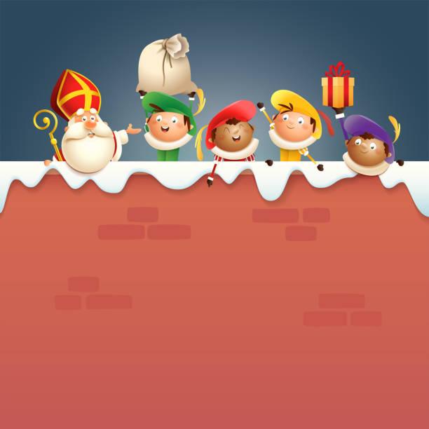 stockillustraties, clipart, cartoons en iconen met sinterklaas en kinderen aan boord - vrolijke schattige personages vieren nederlandse feestdagen - vectorillustratie - cadeau sinterklaas