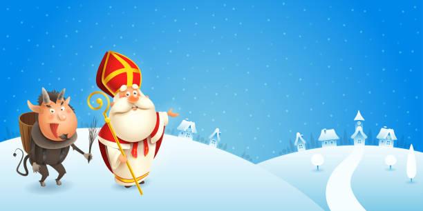 illustrations, cliparts, dessins animés et icônes de saint nicolas et krampus viennent à la ville - scène d'hiver - fond bleu - saint nicolas