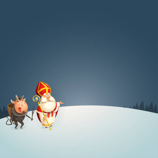 stockillustraties, clipart, cartoons en iconen met sinterklaas en krampus tijdens de winter nacht presenteren-vector illustratie - cadeau sinterklaas