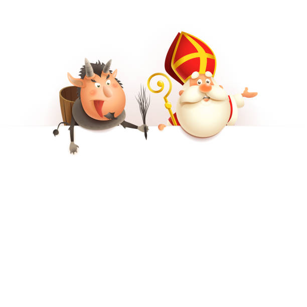 illustrations, cliparts, dessins animés et icônes de saint nicolas et krampus à bord-joyeux personnages mignons célèbrent les vacances-illustration vectorielle d'isolement sur le blanc - saint nicolas