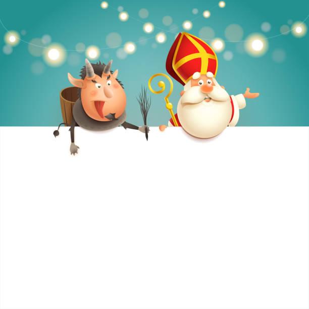 illustrations, cliparts, dessins animés et icônes de saint nicolas et krampus à bord - les caractères mignons heureux célèbrent des vacances - illustration de vecteur - saint nicolas