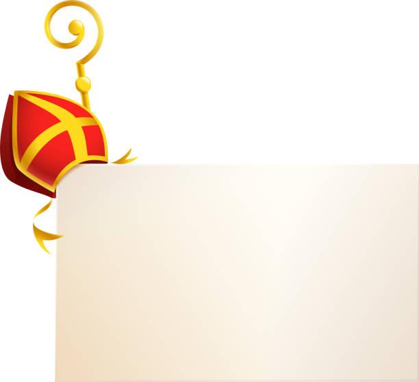 stockillustraties, clipart, cartoons en iconen met saint nicholas attributen verstek en gouden staf aan boord-vector template geïsoleerd op transparante achtergrond - mijter