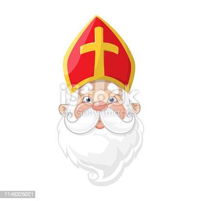 istock Saint Nicholas - cute cartoon character portrait 1146325021