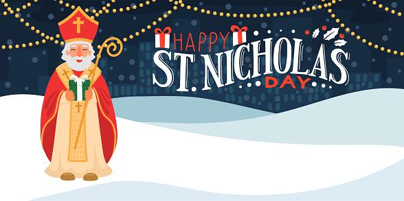 Saint Nicholas holding gift.