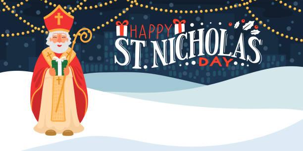 illustrations, cliparts, dessins animés et icônes de saint nicolas tenant le cadeau. - saint nicolas