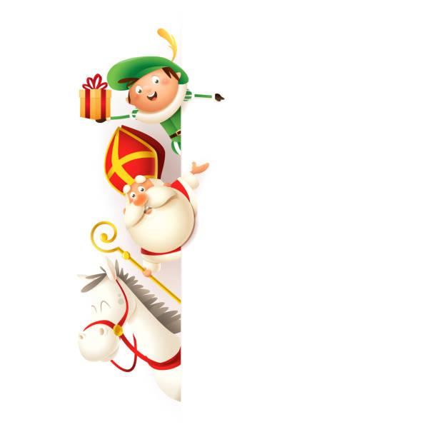 Saint Nicholas horse Amerigo and helper Piet on left side of board - happy cute characters celebrate holidays - vector illustration isolated on white Saint Nicholas horse Amerigo and helper Piet on left side of board - happy cute characters celebrate holidays - vector illustration isolated on white sinterklaas stock illustrations