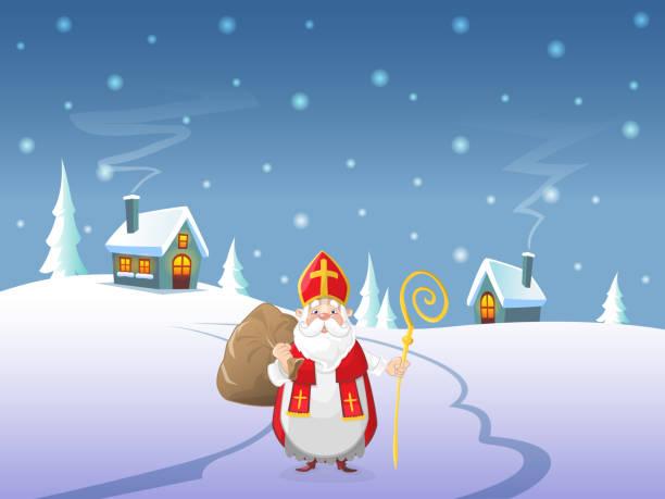 stockillustraties, clipart, cartoons en iconen met sinterklaas komt naar dorp - winterlandschap nachts - mijter