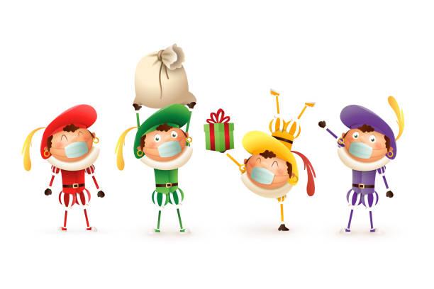 stockillustraties, clipart, cartoons en iconen met de kinderen van sinterklaas met antivirusmasker vieren nederlandse vakantie - leuke vectorillustratie die op transparante achtergrond wordt geïsoleerd - cadeau sinterklaas