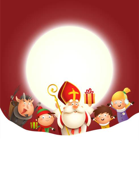 illustrations, cliparts, dessins animés et icônes de saint nicholas krampus et enfants célèbrent des vacances devant la lune - fond rouge avec l'espace de copie - saint nicolas