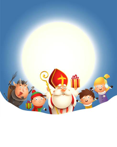 illustrations, cliparts, dessins animés et icônes de saint nicholas krampus et enfants célèbrent des vacances devant la lune - fond bleu avec l'espace de copie - saint nicolas