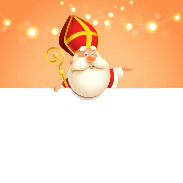 illustrations, cliparts, dessins animés et icônes de saint nicolas à bord - caractère mignon heureux - modèle d'affiche - saint nicolas