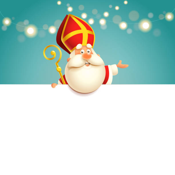 Saint Nicholas on board - happy cute character vector illustration Saint Nicholas on board - happy cute character vector illustration sinterklaas stock illustrations