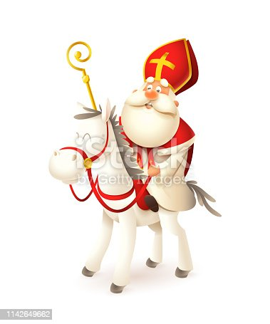 istock Saint  Nicholas on white horse - Sinterklaas and Amerigo vector illustration isolated on white 1142649662