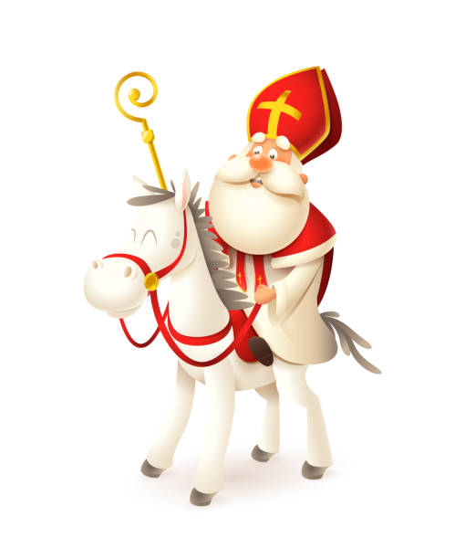 Saint  Nicholas on white horse - Sinterklaas and Amerigo vector illustration isolated on white Saint  Nicholas on white horse - Sinterklaas and Amerigo vector illustration isolated on white sinterklaas stock illustrations