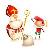 Saint Nicholas or Sinterklaas and helper Zwarte Piet with gift bag isolated on white background