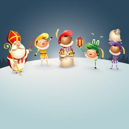 Saint Nicholas or Sinterklaas and kids celebrate Dutch holidays on snowy wall - vector illustration