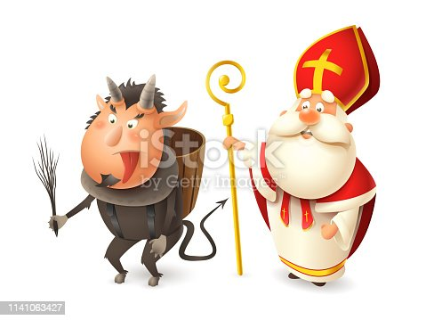 istock Saint Nicholas or Sinterklaas and Krampus - Central European traditional characters - isolated on white 1141063427
