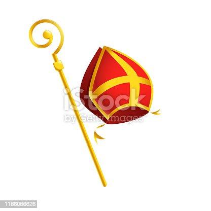 istock Saint Nicholas or Sinterklaas attributes miter and golden crosier stick - isolated on white background 1166086626