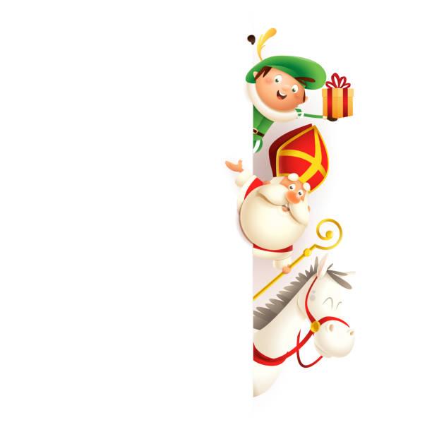 stockillustraties, clipart, cartoons en iconen met sint nicolaas of sinterklaas paard amerigo en zwarte piet aan de rechterkant van de raad-happy cute personages vieren vakantie-vector illustratie geïsoleerd op wit - cadeau sinterklaas