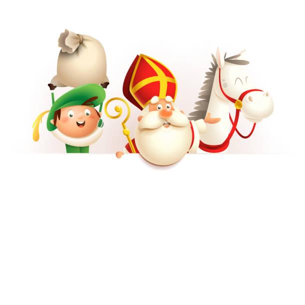 stockillustraties, clipart, cartoons en iconen met sint nicolaas of sinterklaas paard en helper zwarte piet aan boord-happy cute personages vieren nederlandse feestdag-vector illustratie geïsoleerd op wit - cadeau sinterklaas