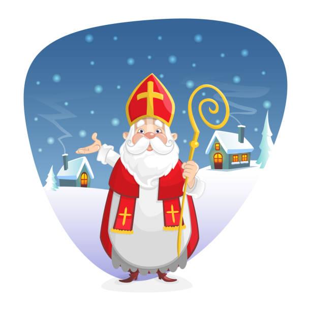 illustrations, cliparts, dessins animés et icônes de saint nicolas ou sinterklaas devant l'illustration de fond d'hiver - illustration de vecteur d'isolement sur le blanc - saint nicolas