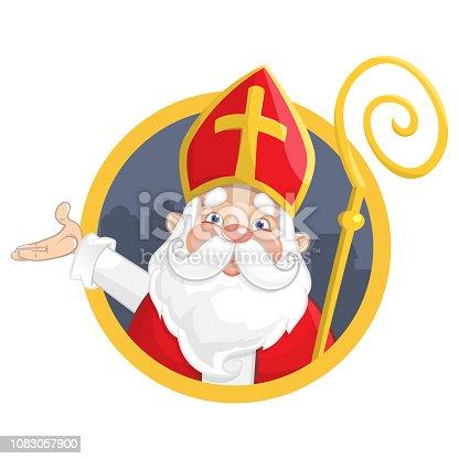 istock Saint Nicholas or Sinterklaas. Portrait on circle banner - vector illustration isolated on white background 1083057900