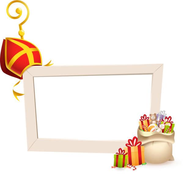 stockillustraties, clipart, cartoons en iconen met saint nicholas of sinterklaas thema frame met gouden staf stok mitre en geschenken-sociale media fotolijstjes geïsoleerd op transparante achtergrond - mijter