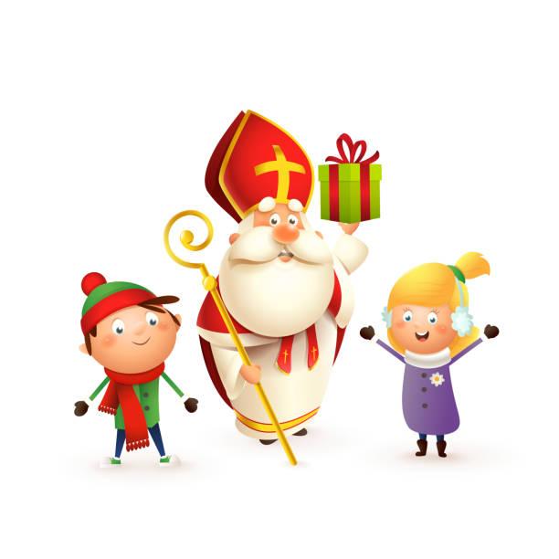 illustrations, cliparts, dessins animés et icônes de saint nicholas ou sinterklaas avec des filles d'enfants fille et garçon célèbrent des vacances - d'isolement sur le fond blanc - saint nicolas