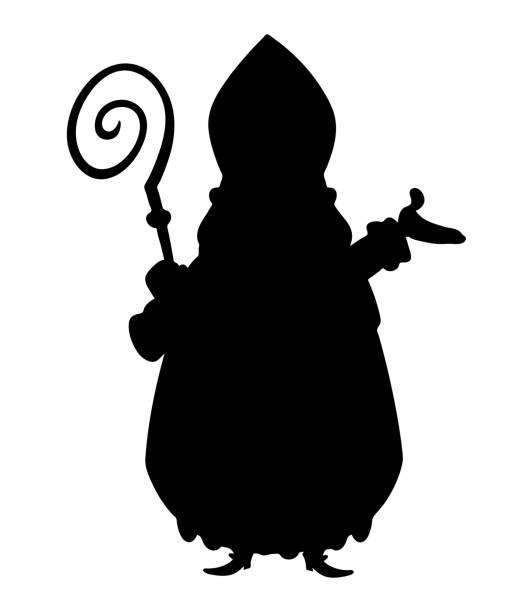 stockillustraties, clipart, cartoons en iconen met saint nicholas silhouet geïsoleerd op transparante achtergrond - cadeau sinterklaas