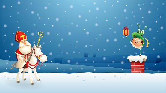Saint Nicholas Sinterklaas and his companion put gifts down the chimney - blue winter night scene
