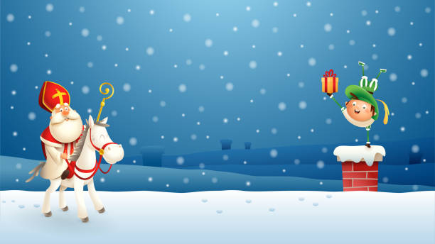 Saint Nicholas Sinterklaas and his companion put gifts down the chimney - blue winter night scene Saint Nicholas Sinterklaas and his companion put gifts down the chimney - blue winter night scene sinterklaas stock illustrations
