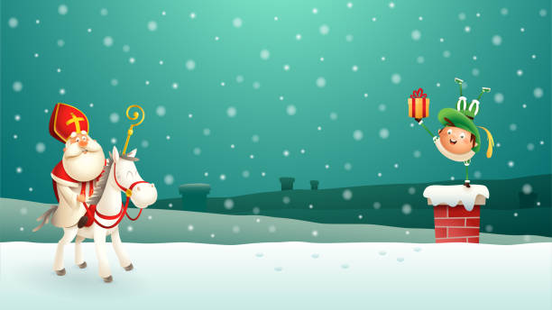 Saint Nicholas Sinterklaas and his companion put gifts down the chimney - turquoise winter night scene Saint Nicholas Sinterklaas and his companion put gifts down the chimney - turquoise winter night scene sinterklaas stock illustrations