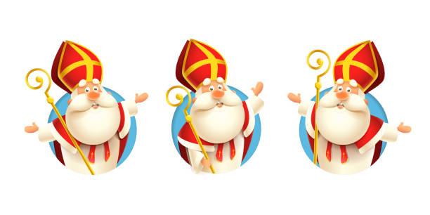 illustrations, cliparts, dessins animés et icônes de ensemble d'autocollants de saint nicholas sinterklaas - illustration de vecteur d'isolement sur le fond transparent - saint nicolas