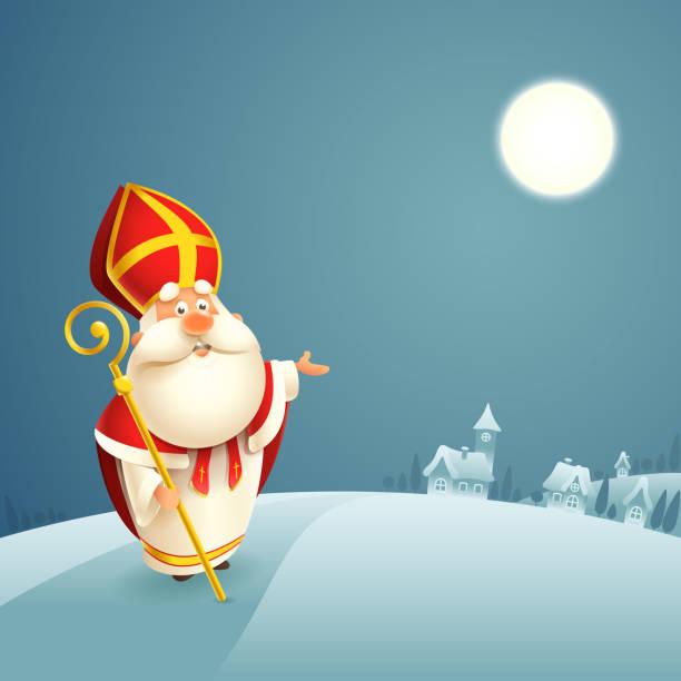 stockillustraties, clipart, cartoons en iconen met saint nicholas theme-winter nacht landschap achtergrond - cadeau sinterklaas