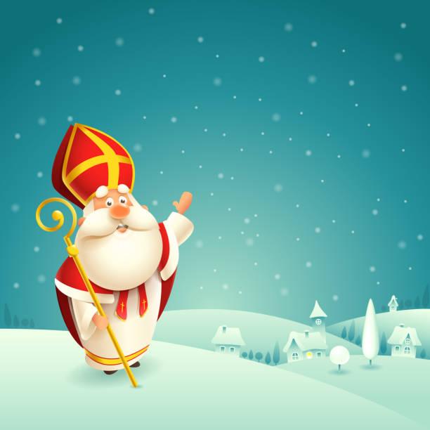 stockillustraties, clipart, cartoons en iconen met saint nicholas theme-winter besneeuwde nacht landschap achtergrond - cadeau sinterklaas