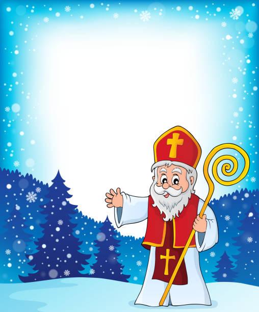 illustrations, cliparts, dessins animés et icônes de cadre de sujet de saint-nicolas 1 - saint nicolas