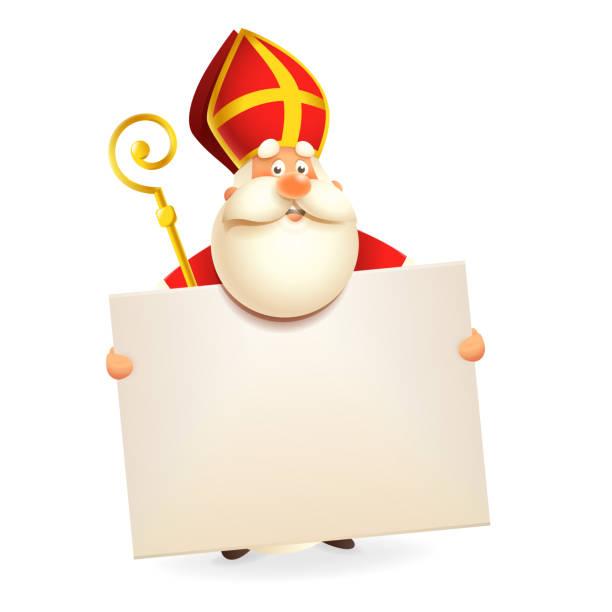 illustrations, cliparts, dessins animés et icônes de saint nicolas avec le conseil - d'isolement sur le fond blanc - saint nicolas