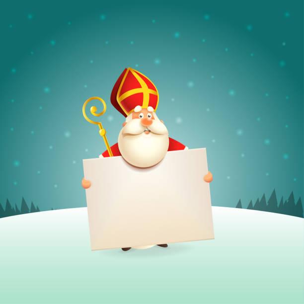 illustrations, cliparts, dessins animés et icônes de saint nicolas avec le conseil - fond de scène d'hiver - saint nicolas