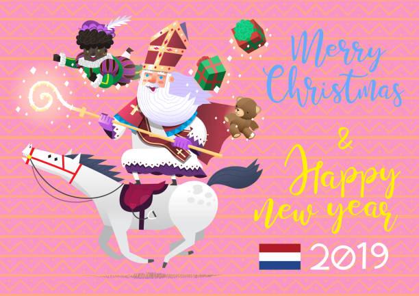 stockillustraties, clipart, cartoons en iconen met saint-nicolas berijden van een paard, brengen presenteert aan kinderen bij sinterklaas - traditionele wintervakantie in nederland. - cadeau sinterklaas
