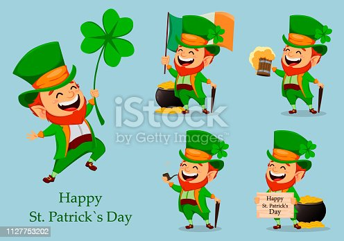 Saint Patrick day. Funny Leprechaun in hat with clover, set of five poses. Cute cartoon character. Vector illustration
