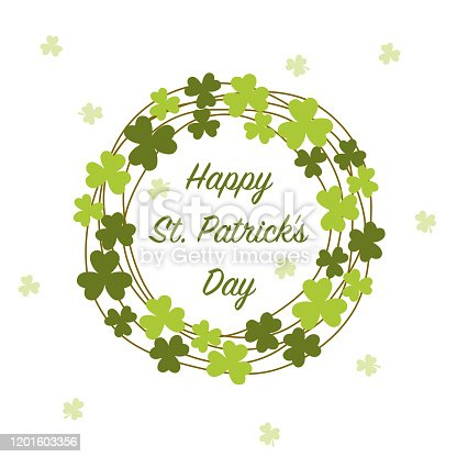 istock Saint Patrick Day frame with three leaf clover 1201603356