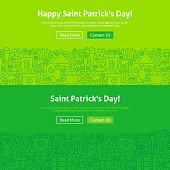 Saint Patrick Day Line Art Web Banners Set