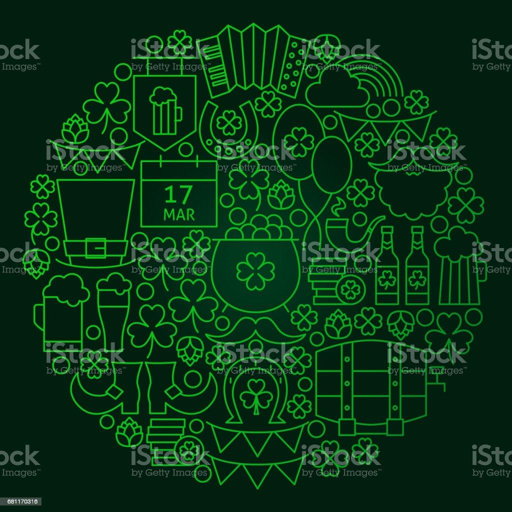 Saint Patrick Day Line Concept vector art illustration