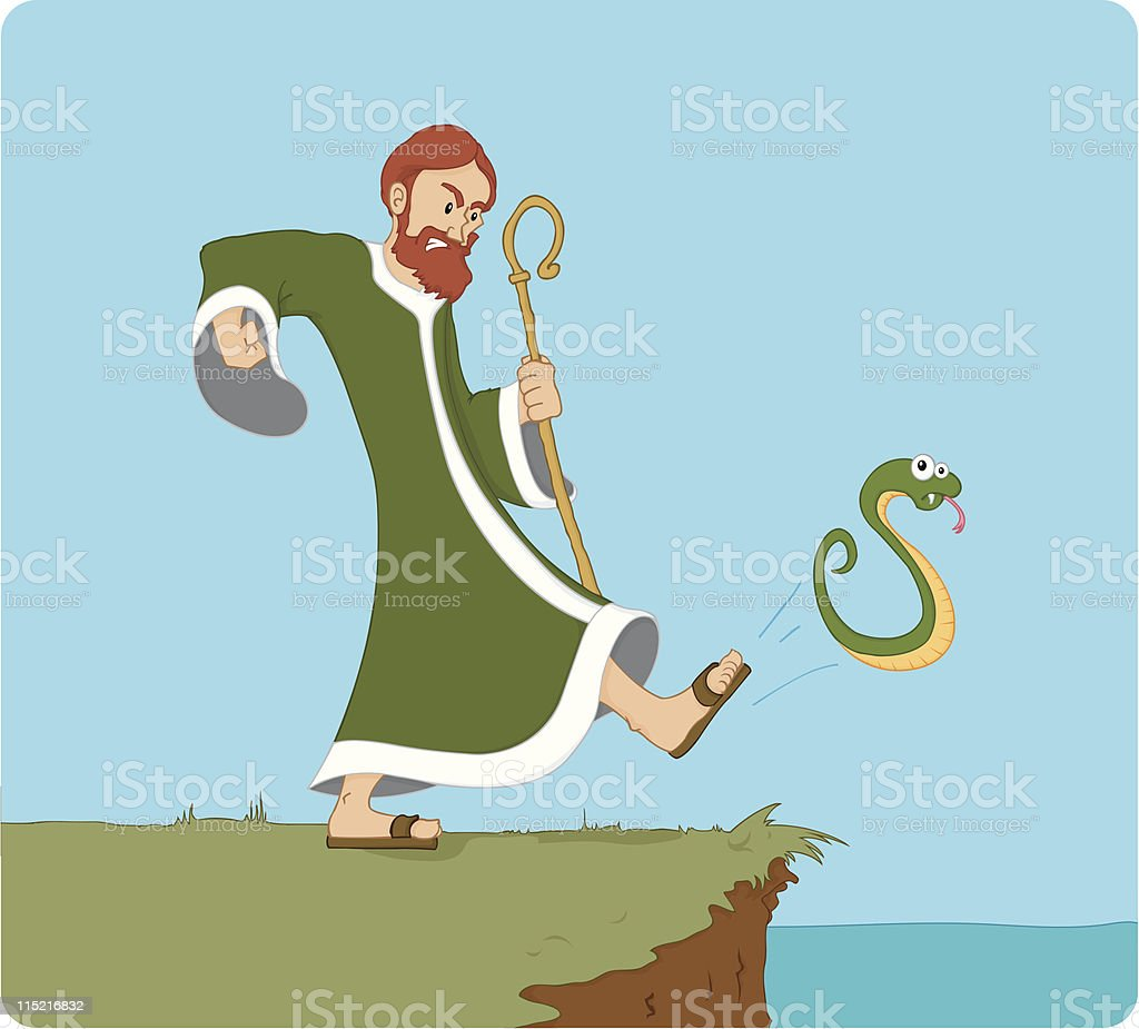 Saint Patrick kicking the snakes out of Ireland royalty-free stock vector art