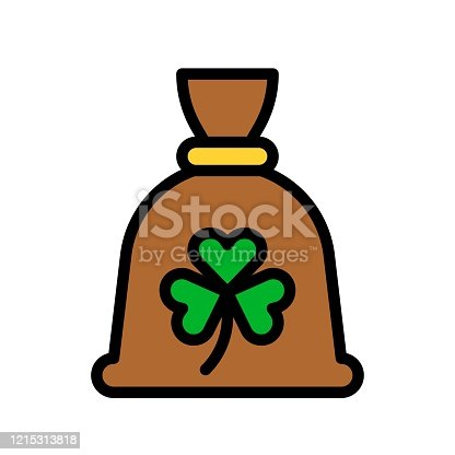 istock Saint Patrick related coins sack with clover flower vector with editable stroke, 1215313818