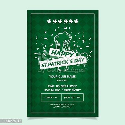 Saint Patrick s Day Poster, Brochure, Holiday Invitation. Vector Illustration