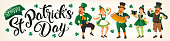 Saint Patrick s Day. Vector illustration with funny people in carnival costumes for Banners, Flyers, Placards, Posters and other use.