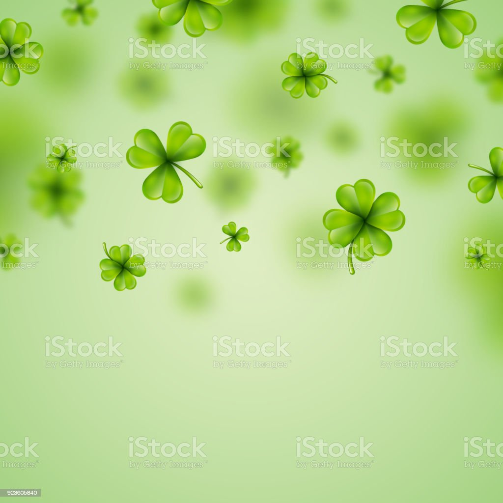 Saint Patricks Day Background Design With Green Clovers Leaf Irish