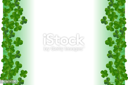 istock Saint Patricks Day background, frame border with cute shamrock leaves, greeting card 923414100