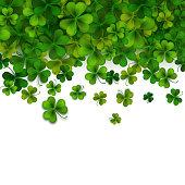 Saint Patrick's day background, realistic green shamrock leaves, vector illustration